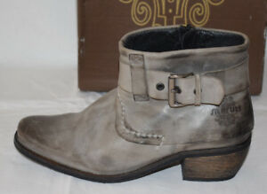 Maruti Valeria Anthracite Leather Ankle Boots UK3.5 Made in Portugal