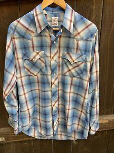 Vintage 1970's Hustler Collection Western Plaid Pearl Snap-Button Shirt sz M