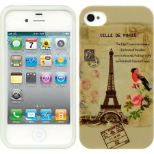 For iPHONE 4 4S -HARD TPU RUBBER SKIN CASE COVER PARIS EIFFEL TOWER FLOWERS BIRD