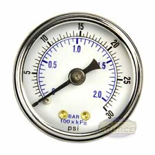 "1/8"" Npt Air Compressor / Hydraulic Pressure Gauge 0-30 Psi Back Mount 1.5"" Face"
