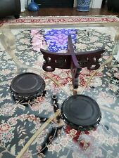 Set of 3 Wooden Asian Chinese Japanese Vase Stands Bases