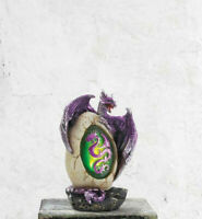 "medieval winged PURPLE Dragon EGG baby throne 4.5"" Statue LED night light lamp"
