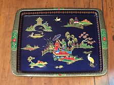 Vintage Daher Decorated Wear Lithograph Metal Tray Asian Chinese Japanese Scene