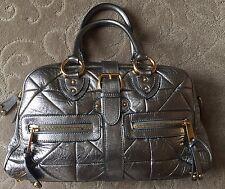 Marc Jacobs Patchwork Venetia Large MetallicSilver Leather Satchel~Retail $1475