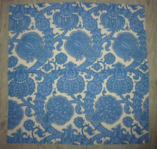 tissu textile coupon ameublement imprimé vintage fleur indienne bleu 59x53 cm