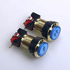 Gold Arcade Start Button Kit 1P + 2P Player LED Button With Microswitch PS3 Game