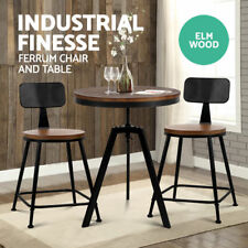 Bar Stool FERRUM Dining Table & 2 Chairs Set Retro Industrial Barstools Wood