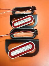 "6"" Oval S/T/T Red LED Truck Trailer Brake Light W/ Clear Lens And Mounting Kit"