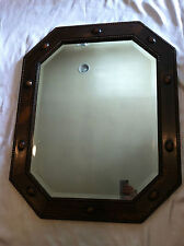 "Vintage 1930's Large Heavy Beautiful Rustic Wood, Wooden Framed Mirror 23.5""x29"