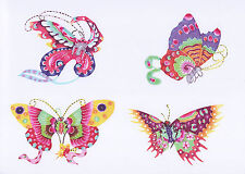 Handmade Chinese Paper Cuts 8 Flying Butterfly Set 8 Small Colorful Pieces