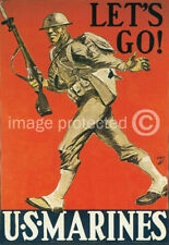 Lets Go US Marines World War II Military Vintage Poster