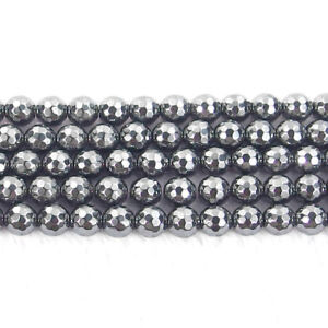 """faceted round natural gemstone 4mm 6mm 8mm 10mm spacer beads strand 15.5"""" DIY"""