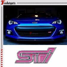 3D Metal Pink STI Logo Front Grill Emblem Badge Decal For Subaru Impreza WRX STI