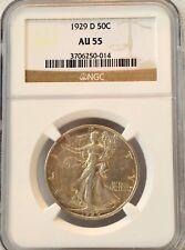 1929-D 50C Walking Liberty Half Dollar - NGC AU 55