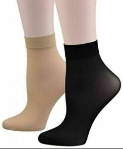 4xPairs Ladies Black Silky Sock Ankle High Trouser Pop Socks UK SIZE 4-7