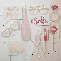 Pink Rose Gold Team Bride Photo Booth Selfie Props Vintage Hen Party Accessories