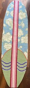 "Surfboard Wool Rug 72"" Long by 20 Inches Wide Hawaiian Design Blue Green & Pink"
