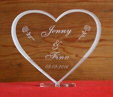 Herz Rosen Acrylglas Aufsteller + Gravur Namen +Datum Valentinstag Geschenk Love
