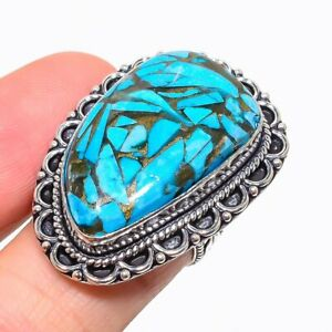 Copper Blue Turquoise Gemstone Handmade 925 Sterling Silver Jewelry Ring Size 7