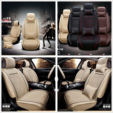 Car Auto Seat Cover Cushion 5-Seats Front+Rear PU Leather w/Pillows Creamy-White