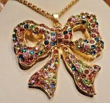Betsey Johnson Jewelry MULTI COLOR PASTEL BOW Women's Pendant Necklace Xmas