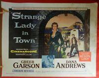 1 Vintage Half Sheet Movie Poster for Strange Lady in Town, 1955, Greer Garson