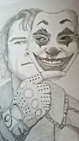 Joaquin Phoenix Pencil Portrait -  Joker Movie Clown mask 2019 ORIGINAL