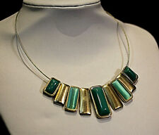 Vintage silver metal color turquoise necklace pendant