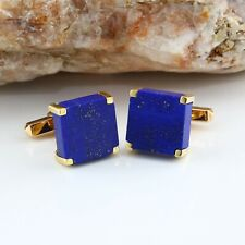 14K Yellow Gold Lapis Lazuli Square Flat Cufflinks Circa 1970