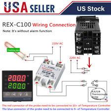 Dual Digital Pid Rex C100 Temperature Controller Ssr 40a K Thermocouple Kit R9y5