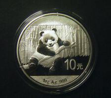 2014 China Silver Panda coin 1 oz .999 Fine 10 Yuan Chinese in Capsule