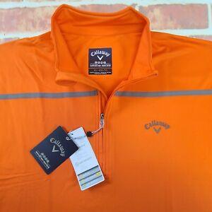 NWT Callaway Men's Weather Series Quarter Zip Stretch Pullover Sz XL Orange