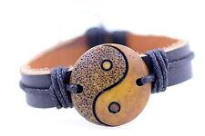 Stile tibetano canapa pelle osso di yak yin ying yang braccialetto