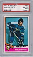 1974 O-Pee-Chee Hockey Card Pittsburgh Penguin Dave Burrows Graded PSA 8(ST)
