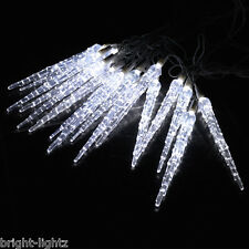 10 METRE CHRISTMAS ICICLE LIGHTS FROZEN ICICLE DROP EFFECT XMAS LED COOL WHITE