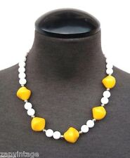 Vintage 1960's Yellow & Gold Beaded (Victorian) Costume Jewelry Necklace
