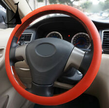 Universal Red Car Silicone Steering Wheel Cover Protect Shell Leather Texture