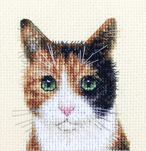 CALICO CAT  KITTEN Full counted cross stitch kit Fido Stitch Studio