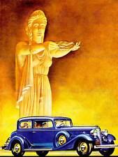 AUTO AUTOMOBILE Deco Statua Laurel BLU CLASSICO STYLE USA art print poster cc037