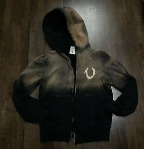 TRUE RELIGION - Dirty Ombre BURNOUT hoodie Zip Up Jacket XS Black Apocolyptic