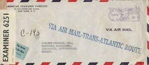 XX4705 New York Oct 1942 air cover UK censored, large VIA AIR MAIL-TRANS-ATLANTI