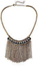 Elise M. Statement York Gold Green Acrylic Stones Fringe Choker Necklace New
