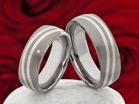 Trauringe Eheringe aus Titan und 925 Silber mit Diamant und Lasergravur P309