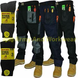 Blackrock Work Wear Trousers Multi Pocket Trade Pants Triple Stitch & FREE SOCKS