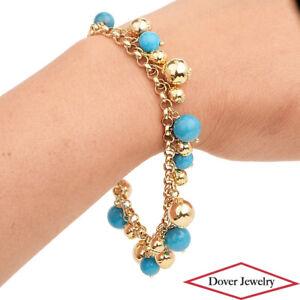 Italian Turquoise 14K Gold Dangle Bead Link Bracelet 19.4 Grams NR