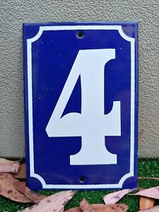 GREAT! FRENCH # 4 Home Address Enameled Porcelain Signs Plates Tiles Numbers