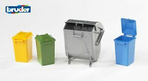 Garbage Can Set Dust Bins - Bruder 02607 Scale 1:16 NEW