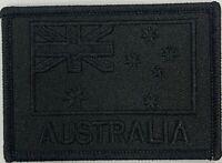 Black Subdued Australia National Flag Patch hook & loop backing.
