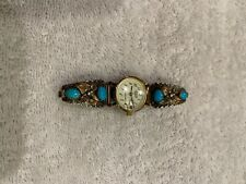 Ladies Acqua quartz watch with vintage sterling silver & turquoise wings