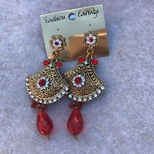 CZ Stones Red Indian Earrings Bollywood Fashion Bridal Ethnic Gold Jewellery